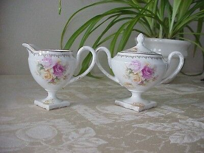 Antique Sugar Bowl and Creamer Set Royal Vienna Shabby Chic/French Country