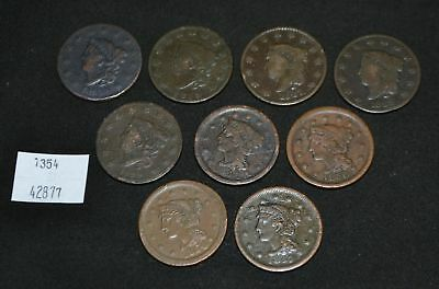 West Point Coins ~ 9 Large Cent Lot 1816 1819 1827 1828 1829 1848 1850 1851 1854
