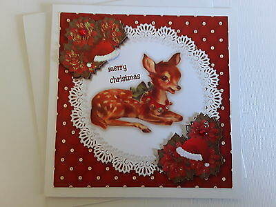CHRISTMAS~baby fawn with santa hat~ Handmade greeting card 3D~