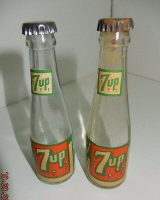 (2) Vintage miniature 7-Up glass bottles - empty - very old 1930s-40s