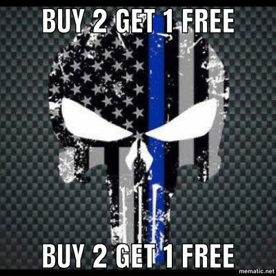 Punisher Blue Lives Matter Police USA American Thin Line Flag Decal Sticker Car