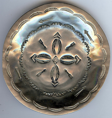 Navajo Vintage Nickel Silver Stamped Arrows Small Tray
