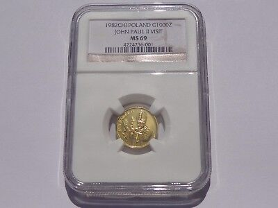 1982 Chi Poland John Paul Ii Visit 1000 Zl Gold! Ngc Ms69 Super Nice! Must See!