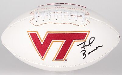 Frank Beamer Signed Virginia Tech Hokies Logo Football (PSA Hologram)
