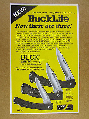 1984 Buck Knives BuckLite II & III Knife Models photo vintage print Ad
