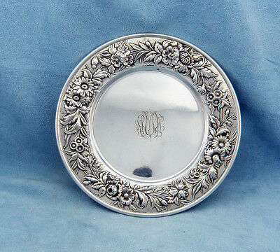 "S. Kirk & Son Repousse 127F Sterling Silver Butter/Bread Plate 6 1/4"" Vintage"