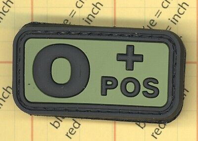 PVC Blood Type O POS O+ OD green Tags Tactical Patch 3D Positive 0 Plus Morale