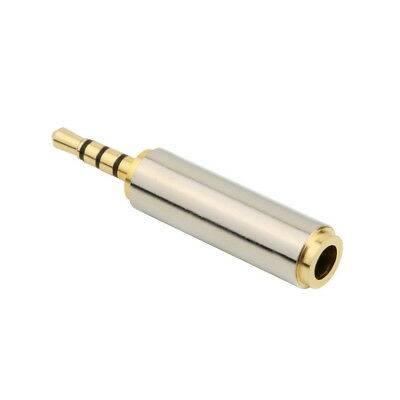 Gold 2.5mm Male to 3.5mm Female Stereo Audio Headphone Jack Adapter Converter JK