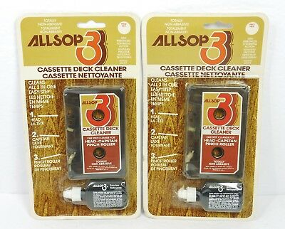 2X VINTAGE ALLSOP 3 Audio Cleaner Cassette Tape Deck Wet Cleaning Systems - NOS