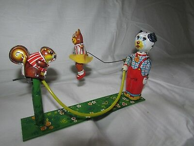 VINTAGE JAPAN 1950s TPS T.P.S. TIN WIND-UP TOY SKIP ROPE ANIMALS