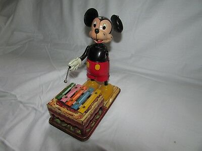 MICKEY MOUSE TIN XYLOPHONE LINEMAR MARX WIND-UP DISNEY LINE MAR 1950s Japan