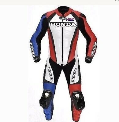 Honda Red And Blue Motorcycle Leather Racing Suit Ce Approved Protection All Siz