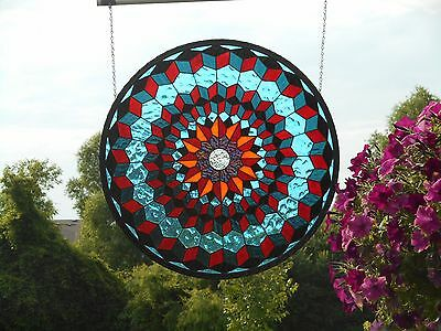 Beautiful Large Round Stained Art Glass Handmade Artist Signed Window Panel
