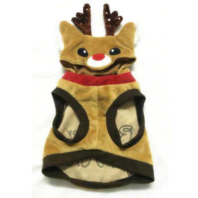 Funny Xmas Reindeer Dog Costumes Pet Cat Coat Sweater Hoodie Puppy Clothes