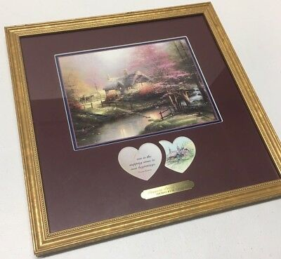 THOMAS KINKADE STEPPING STONE COTTAGE - FRAMED 14 X 14,  COA Amazing Condition