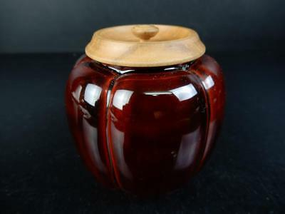 J1785:Japanese Wooden Lacquer ware TEA CADDY Natsume Chaire Tea Ceremony