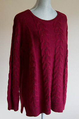 ANN TAYLOR LOFT Cotton & Wool Cable Sweater Deep Ruby $59.50 XL NEW!