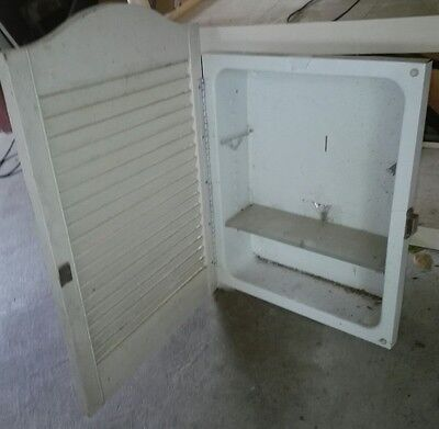 Vintage metal medicine cabinet wood shutter door,wall inserted,2 glass shelves,