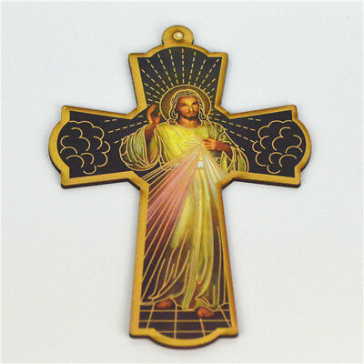 Wooden Religious Saint Crucifixes With Divine Mercy Picture