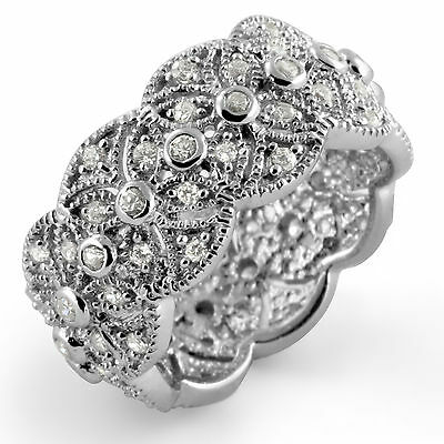 Round Wedding Bridal Anniversary Band Ring Cubic Zirconia Sterling Silver Sz 8