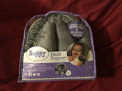 Boppy Newborn Infant Toddler Car Seat Head and Neck Support Headrest, gray