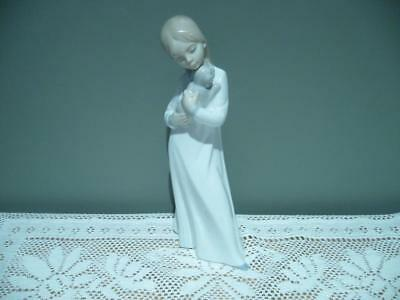 Lovely Nao By Lladro Spain 'girl With Puppy' Retired Vintage Figurine - Vgc