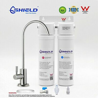 Twin Undersink Drinking Water Filter System 2 Stages Shield  WaterMark Certified