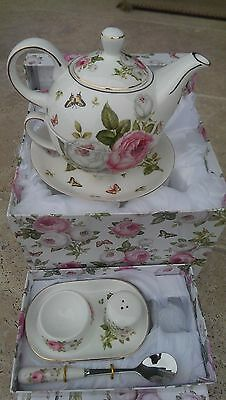 Fine Bone China Butterfly Rose Tea For One Set with matching Egg Set