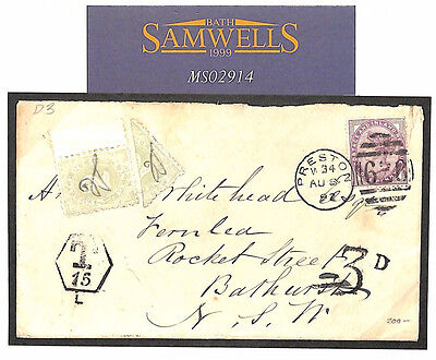 MS2914* 1897 GB AUSTRALIA NSW *Postage Due Bisect* Underpaid Cover ex Preston