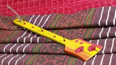 Hand Painted Key Holder  Spatula Coated  Hanging Steel Hook Floral Yellow