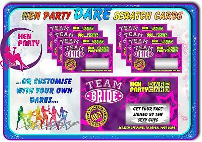 TEAM BRIDE Hen Night Party Dare Scratchcards Funny Scratch Cards Invitations hen