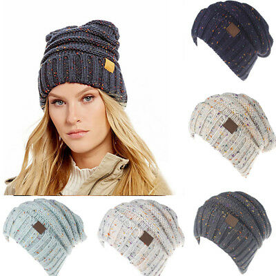 US Stock Womens Wool Knit Beanie Beret Ski Ball Cap Baggy  Winter Warm Hat