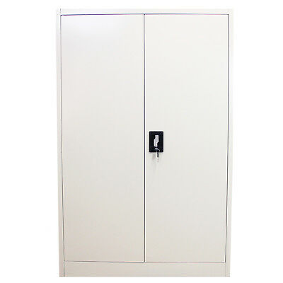 Metal Office 2 Doors Filing Cabinet Flatpack Document Lockable Storage 140cm