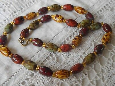 Lovely Vintage 1960s Autumn Glass Bead Necklace