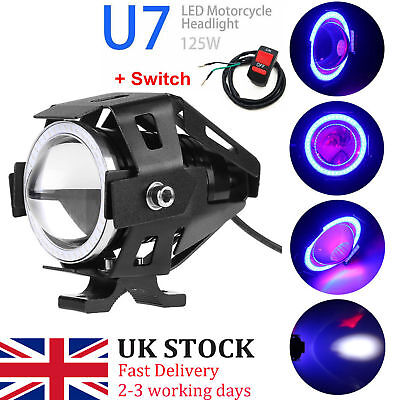 2x LED CREE U7 Angel Devil Eye Light 125W Motorcycle Fog Spotlight HeadLight #er