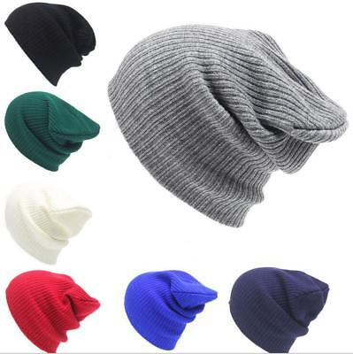 Mens Women Unisex Slouch Baggy Oversized Winter Warm Ski Rib Knit Beanie Hat Cap