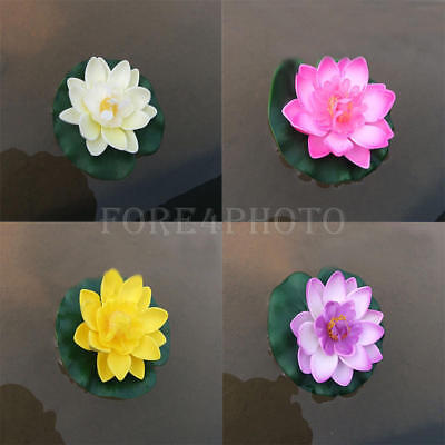 Hot Artificial Fake Lotus Water lily Floating Flower Garden Pool Plant Ornaments