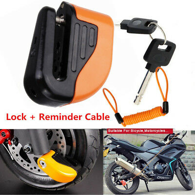 Anti-theft Motorbike Disc Lock Alarm 2 Keys Security + Free Reminder Cable 1.5M