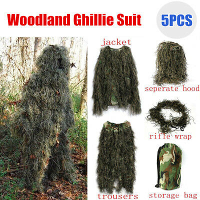 M- 5pcs Ghillie Suit Woodland Camouflage Hunting Shooting Sniper Hiding Clothing