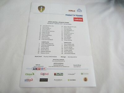 2017-18  CHAMPIONSHIP  LEEDS UNITED v  IPSWICH TOWN TEAM SHEET