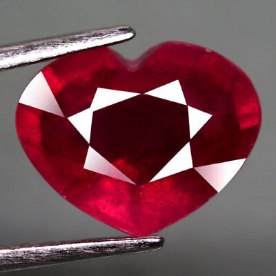 4.11Ct.dazzling! Heart Facet Top Blood Red Natural Ruby Madagascar