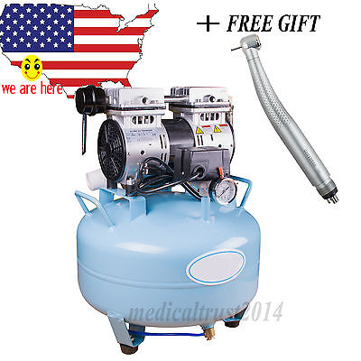 US SALE Dental  Noiseless Silent Oilless Air Compressor Filter W  LED handpiece