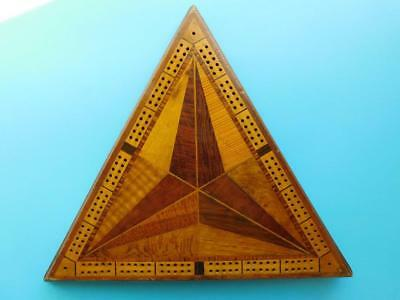 Australian Native Timbers Parquetry Wooden Cribbage Board Huon Pine Musk c1900s