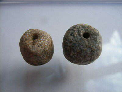 2 Ancient Paleolithic Bone, Mammoth Beads Stone Age VERY RARE!  TOP !!