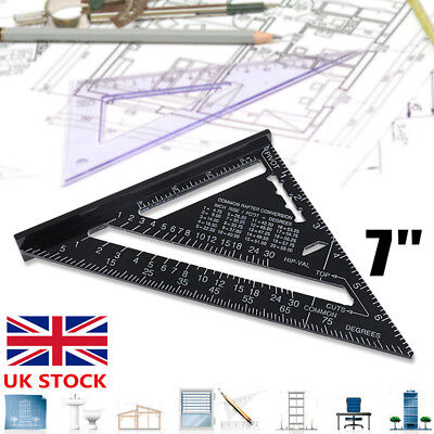 """7"""" Remodel Ruler Miter Aluminum Alloy Speed Square Roofing Triangle Protractor"""