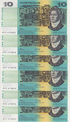 R313 $10 Fraser/Cole Twin Set of Six Notes Unc