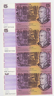 R213 $5 Fraser/Cole Twin set of Four Notes Unc