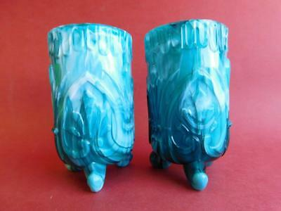 Gorgeous Victorian Pressed Turquoise Slag Glass Vases c1890s Sowerby?