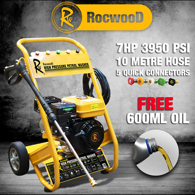 Rocwood 3000 PSI 7HP 10 Litre Per Min Petrol High Power Pressure Jet Washer