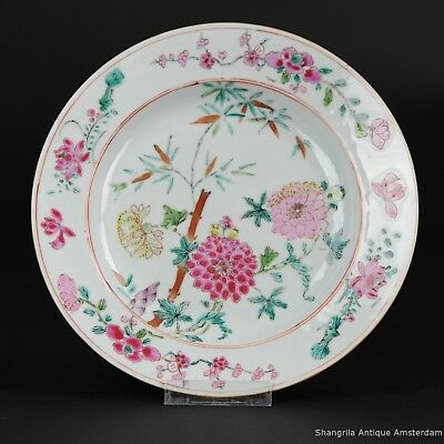 Antique Chinese 18th C Porcelain Plate Famille Rose Qing Qianlong China Flowers